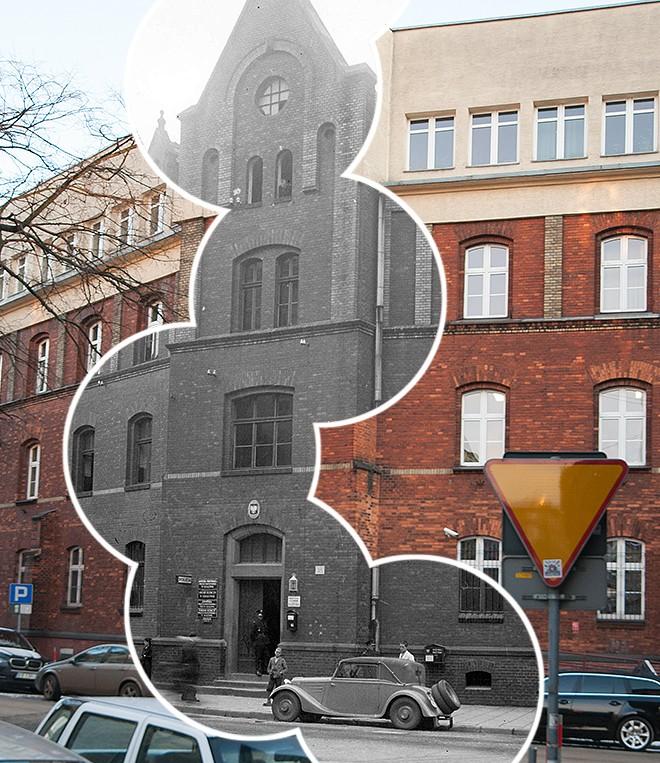 (#37) ul. Siemiradzkiego, widoczny budynek komendy policji