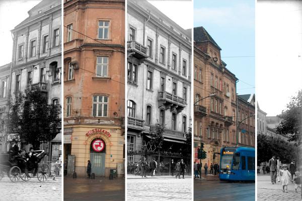 (#42) ul. Dunajewskiego, widoczna kawiarnia Bisanza